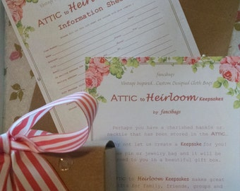 Attic to Heirloom Keepsake Kits by fancibags on Etsy