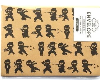 Japanese Envelopes - Ninja Envelopes  - Medium  Envelopes - Thank You Envelopes - Japanese Style  -  Set of 12