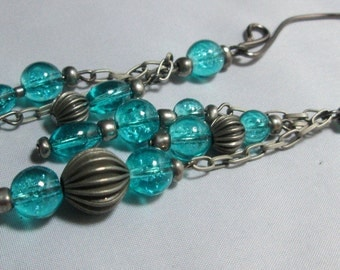 Gunmetal and Aqua Ear Cuff Earring