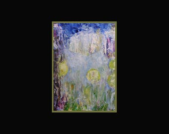 Fine art print, blue, lemon, violet, pale, 'House on Moonsilk Lane', from original oil painting, A6 to A3 size
