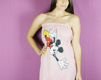 S Mickey Mouse Dress , Handmade Pillow Case Dress , DISNEY Dress, Handmade Mickey Mouse Clothing, Womens Disney Dress