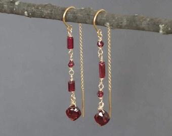Long Garnet Threader Earrings, 14k Gold Garnet Earrings, Red Garnet and Gold Earrings