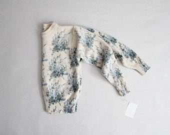 floral sweater | cream wool sweater | cropped sweater