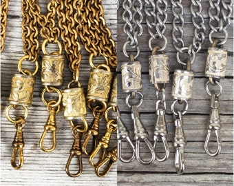 Vintage chain Lanyard Necklace w Victorian fancy connector charm holder guard chain pocket watch chain  swivel clip. gold silver c55