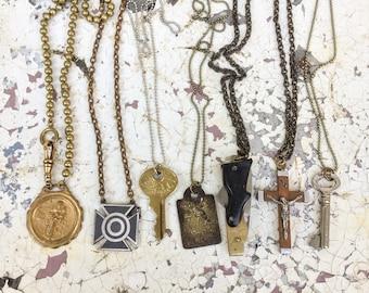 Vintage Necklace lot- 7pc Destash! Gun Knife, target medal, dog tag, crucifix, antique key Motorcycle Men jewelry fob bronze silver zz