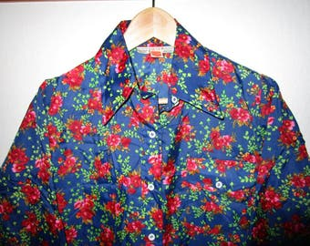 SKYR Ski Shirt - Vintage 1970's - Ladies L - Navy Blue Floral Print - Long Sleeve Nylon Collared Shirt
