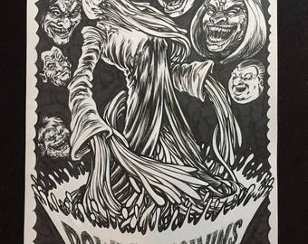 Down and Melvins gigposter original drawing