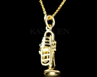 3D Gold Tone bach king Brass BB TRUMPET Cornet Music charm Chain Musical Instrument Necklace Jewelry Musician Best Friends Christmas Gift
