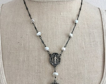 Sterling Silver and Freshwater Pearl Rosary Inspired Necklace