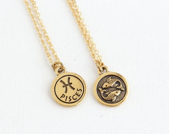 Pisces Necklace - February Birthday - Zodiac Necklace - Zodiac Jewelry -  Astrology Pendant - Gift For Daughter - Pisces Pendant