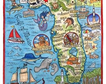 "Florida State Map 8""x 10"" Art Print"