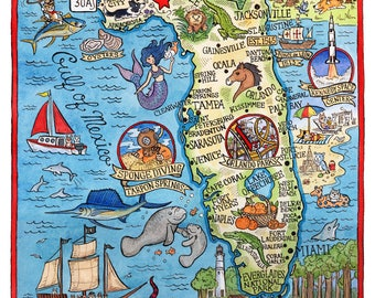 "Florida State Map 11""x 14"" Art Print"