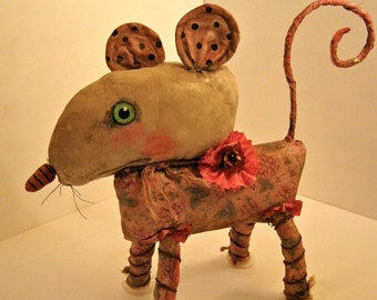 ooak rat art doll, sandy mastroni,original doll,bizarre, strange art, unique art doll, mouse art , creature art ,fabric sculpture, shelf art