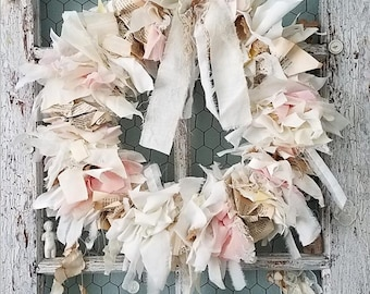 Wreath, Burlap & Lace Wreath, Pastel Fabric Wreath, Shabby Chic Wreath, Wedding Decoration, Nursery Decor, Table Centerpiece, Holiday Wreath