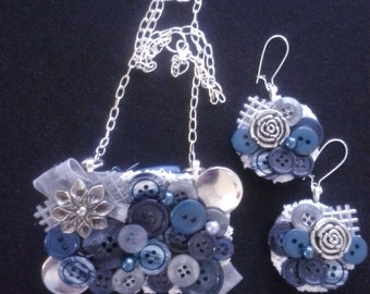 Assemblage Statement Button Necklace and Earring Set, Blue Tones, Vintage Inspired