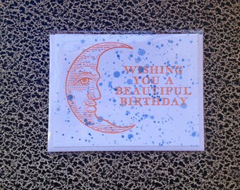 stars and moon birthday letterpress card snowflake sparkly spatter paint