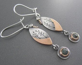 Handmade Dream Together Earrings with Rose Gold, Michigan Greenstone, Diamonds