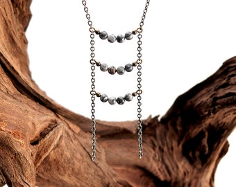 Silver Lace Agate Tiered Ladder Necklace - 3 Curved Bars - Long Agate Layering Necklace - Dainty Ladder Necklace- Boho Agate Tiered Ladder