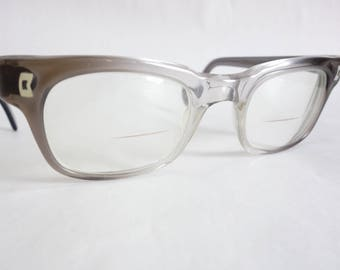True Vintage 1950s Men's Eyeglass GRAY CLEAR Fade Frames 50s Eyewear Glasses Men's Sunglasses Retro Mod Rockabilly Unique Midcentury C34