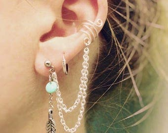 Double Chain Feather and Turquoise Earring With Ear Cuff Set
