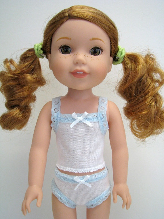 """Fits Like Wellie Wisher - 14"""" Doll Underwear - 14 Inch Doll Clothes - 14.5"""" Doll Panty - White Panty -  Blue Lace - American - Doll Boutique"""