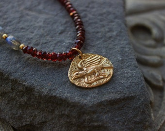 Red Garnet Gemstone Necklace, Garnet Chocker, antient primitive gold pendant, bird pendant bronz ,  Holiday gift