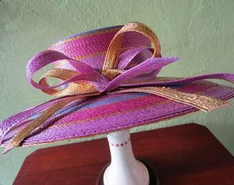 Eric Javits Gold Lurex Straw Hat Striped Fuschia Raspberry Purple Wide Brim Sun Derby Church Easter