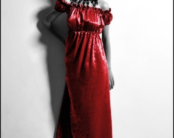 Red Silk Wisteria Gown by Kambriel - Empire Dress - to wear on or off the shoulders - Brand New & Ready to Ship!