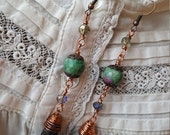 Gemstone Crystal Earrings | Wire Wrapped Copper Earrings | Bohemian Jewelry | Goddess Within | Titanium Quartz Ruby Fuschite Gemstones