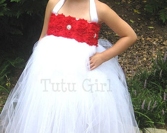 Red and White Tutu Dress, Red Flower Girl Dress, Classic Red Toddler Tutu Dress, Flower Girl Dress, Roses, Baby