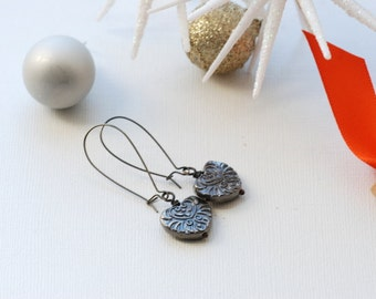 Silver Earrings, Heart Earrings, Long Dangle Earrings, Rustic Earrings, Statement Earrings, Boho Earrings, Romantic Jewelry, Girly Earrings