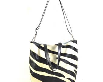 Nicole - Handmade Zebra Print Hair On Hide Leather Tote Bag With Detachable Clutch SS17