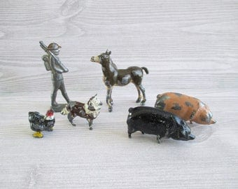 Collection of Little Vintage Cast Metal Animals and Soldier