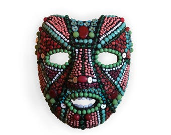 Folk Art Beaded Mask Contemporary Wall Art Warrior Costume Assemblage