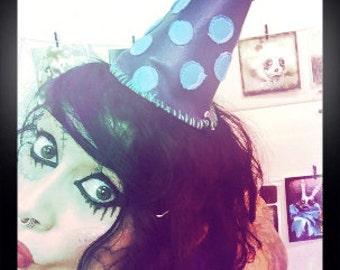 Blue polka dot party hat, soft purple leather hat, cosplay costume, fantasy hat, punk rock birthday, mardis gras, halloween hat, mini hat