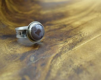 Botswana Agate and sterling ring, size 8
