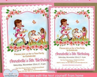 Tea Party invitation / African American girl tea birthday theme - INSTANT DOWNLOAD P-70-TEA - You can edit text from home with Adobe Reader