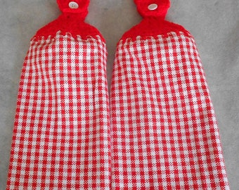 Red and White Checkered Kitchen Crochet Top Towel - Red Crocheted Handle Top Towel - Red Granny Hand Towel - Red White Checker Hanging Towel