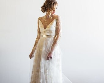 SAMPLE SALE Tattoo Lace Sheer Sleeved Tulle Floral Metallic Gown - Samantha by Cleo and Clementine