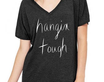 Hangin Tough Oversized Slouchy V Neck Tee Loose tshirt shirt