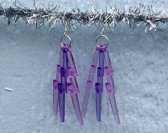 Power Purple Lightning Bolt Earrings w/ silvery hooks