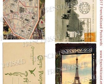 Eiffel, Champs-Élysées and Ephemera: Map and Carte Postale Antique French Paris Postcards Instant Download Page