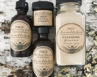 Face Essentials Collection | Face Skincare Kit | Natural Face Cream | Cleansing Grains | Gift for Her | Skin Care Collection | Face Cream |