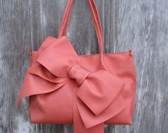 Salmon Pink Leather Bow Tote Bag by Stacy Leigh