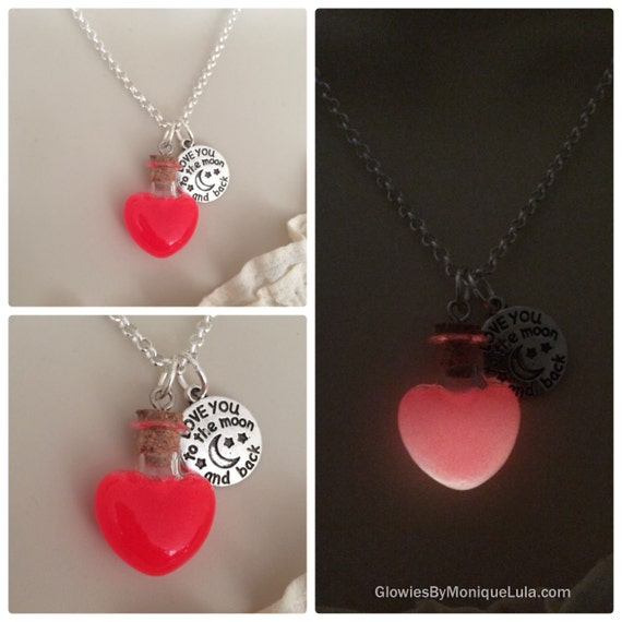 Love Potion Magic Glow Glass Necklace Glowing Spell Moon Charm
