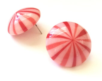 Candy Cane Studs | Retro Button Stud Earrings | Red and Pink Stripe Earrings | vintage lucite studs