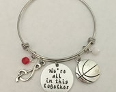 """Disney inspired High School Musical bangle bracelet """"We're all in this together"""" charm bracelet disney jewelry"""