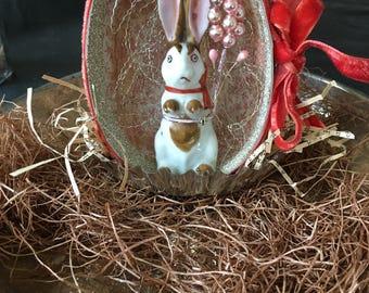 Handmade Easter Egg Rabbit Bunny Collage Glittered