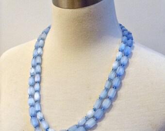 Vintage Valjean 2 Strand Blue Parfait Bead Necklace Glass Beads w/Original Tag