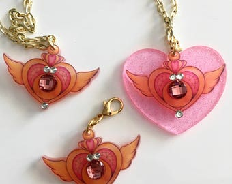 "Crisis Moon Sailor Moon  ""darling symbols"" 2017 laser cut silkscreen print necklace, plexiglass, acrylic, perspex"